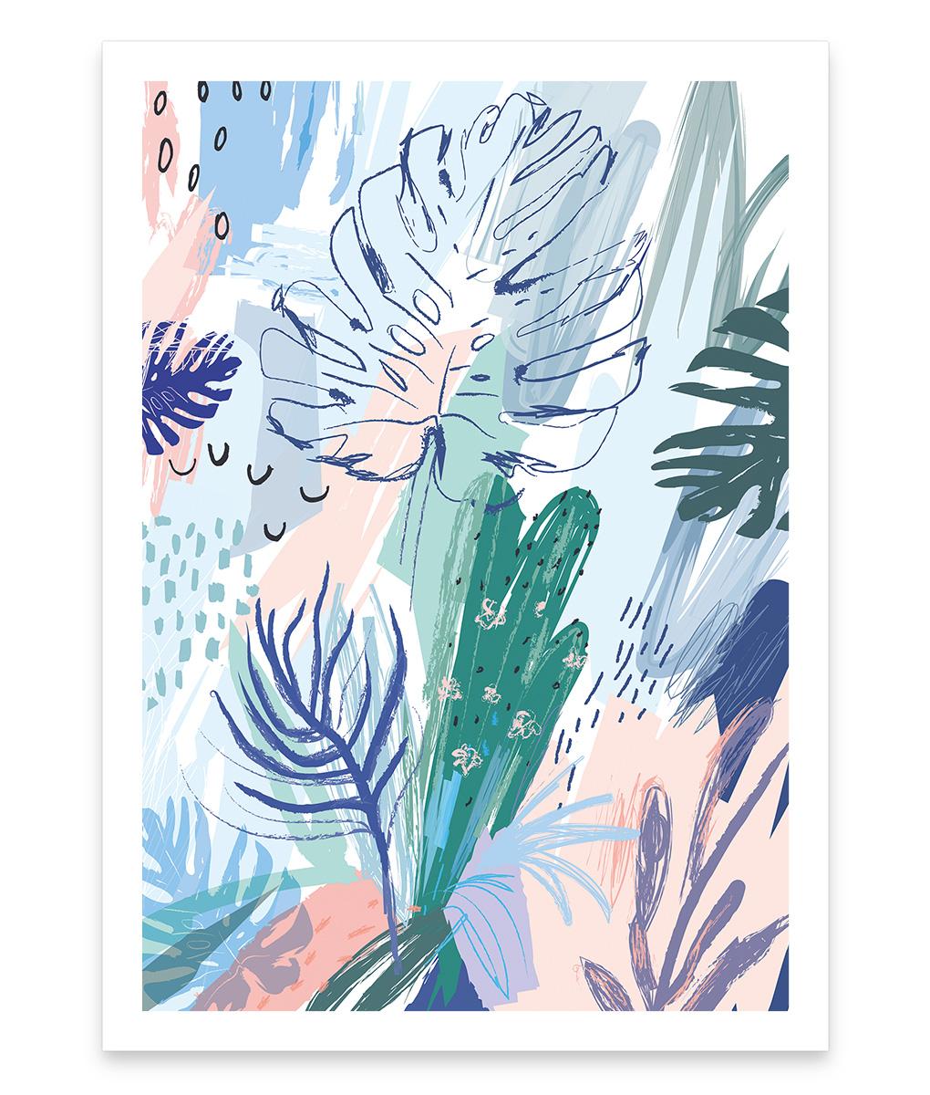 Cactus jungle, une affiche colorée de plantes tropicales et cactus