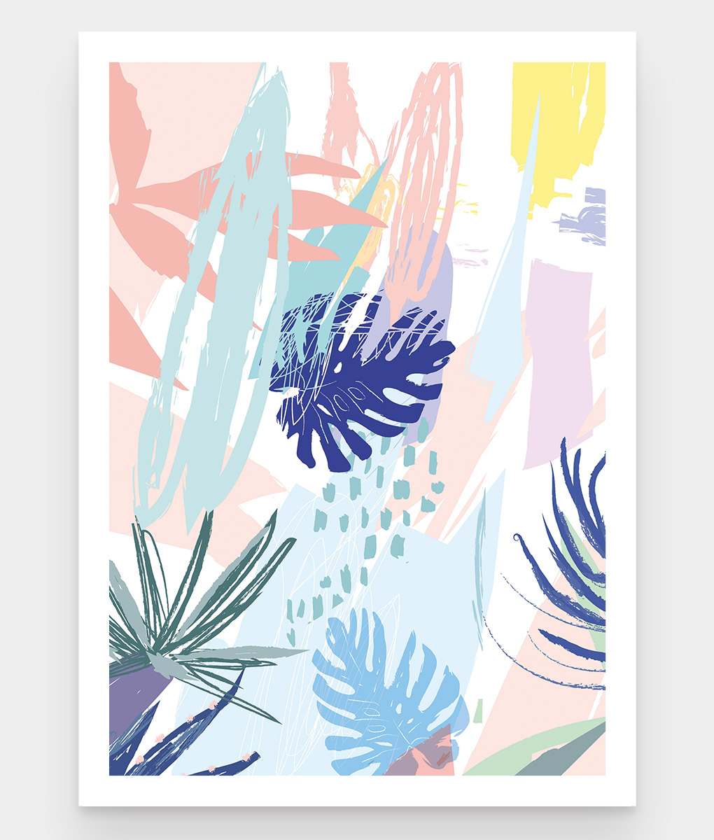 Abstract jungle une affiche colorée plantes tropicales existe en plusieurs formats