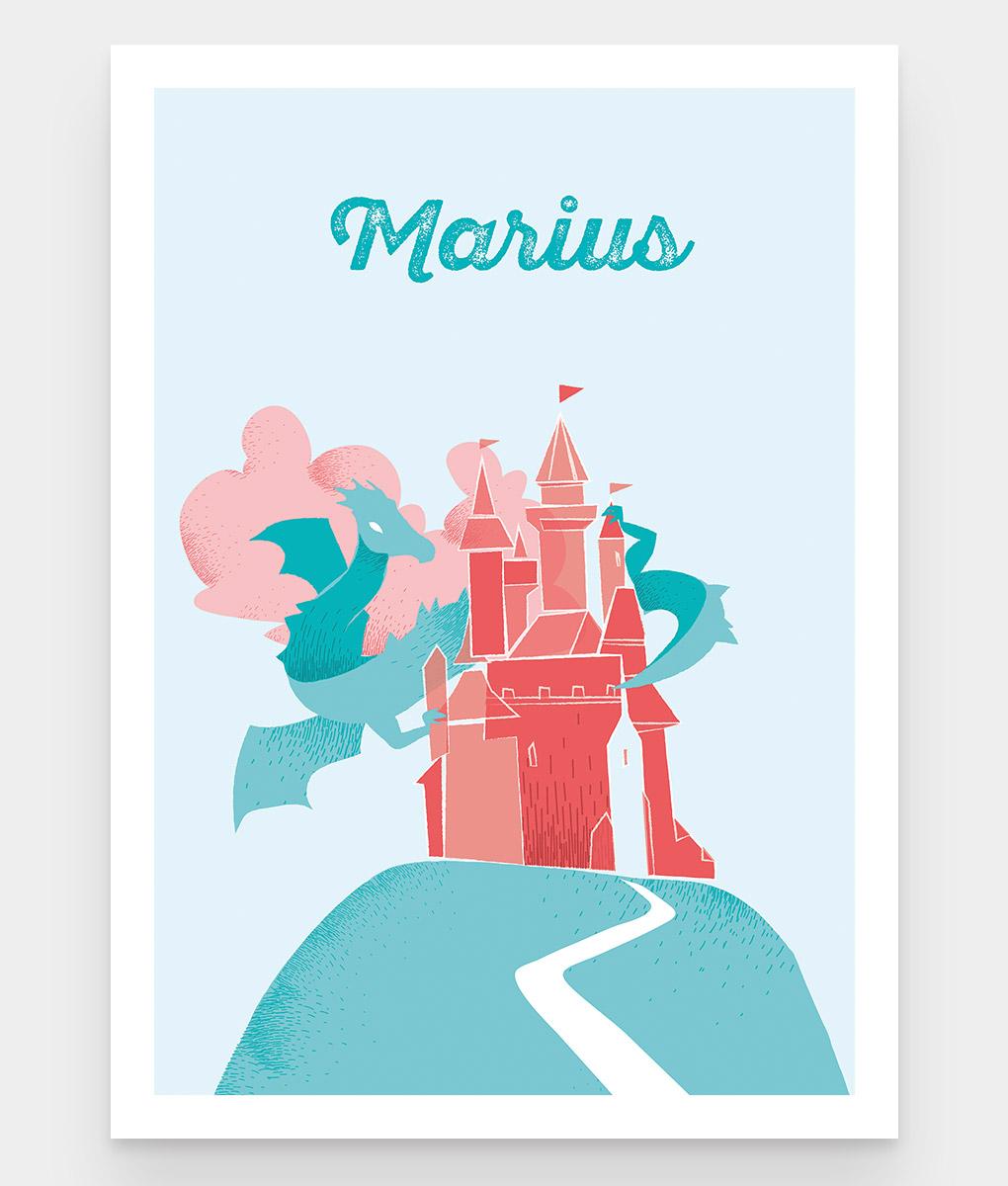 Une affiche personnalisable pour enfant d'un dragon qui veille sur un château fort pour enfant