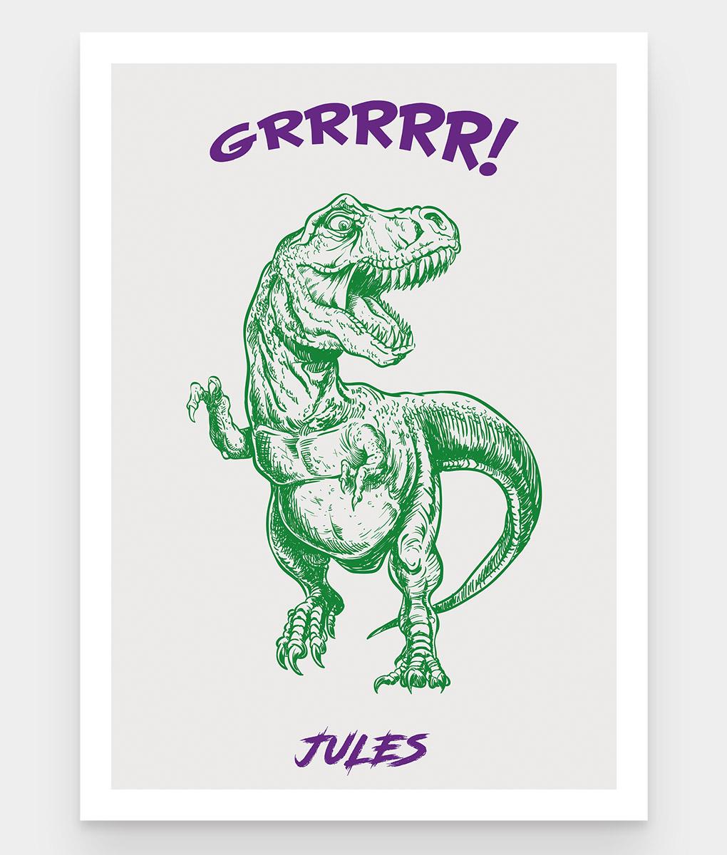 Une affiche personnalisable pour enfant d'un dinosaure Tyrannosaure Rex