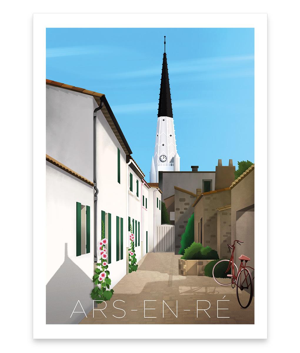 Ars-en-ré, une affiche vintage du magnifique clocher blanc à la flèche noire