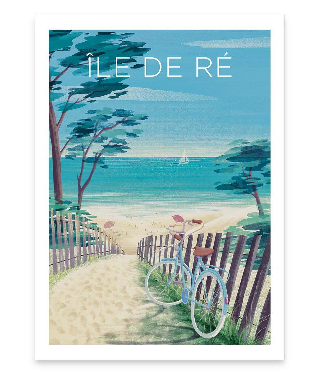 Une affiche vintage d'une plage de l'île de ré sous le soleil exactement
