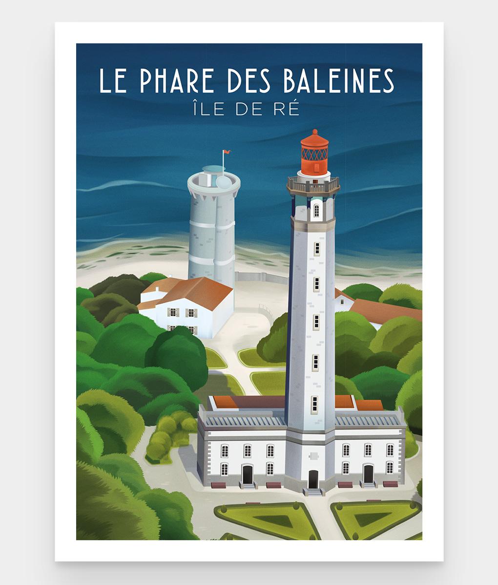 Une affiche vintage du très célèbre phare des baleines sur l'île de ré