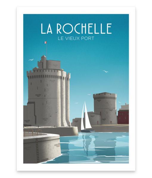 Une affiche vintage des fameuses tours du vieux port de La Rochelle
