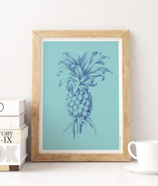 Ananas cyan une affiche vintage et tropicale, la tendance déco du moment