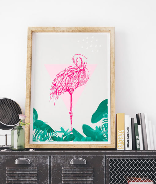 mock-up-tropical-pink-flamingo-onthewallagain