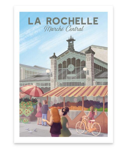 Une affiche vintage du marché central de la Rochelle