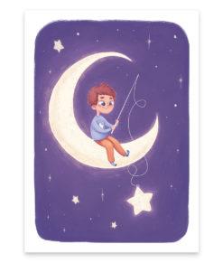 Une affiche pour enfant d'un petit prince dans la lune pêchant des étoiles