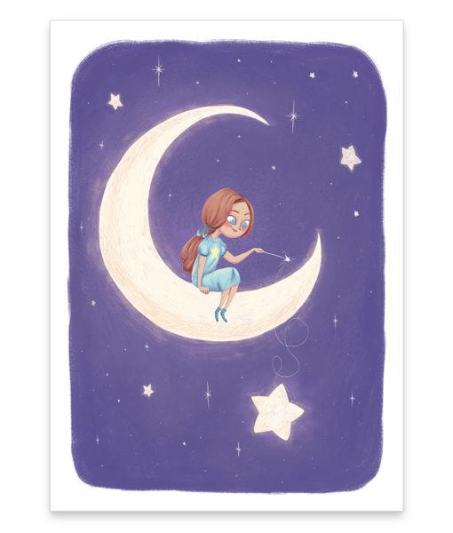 Une affiche d'un petite princesse dans la lune illuminant les étoiles