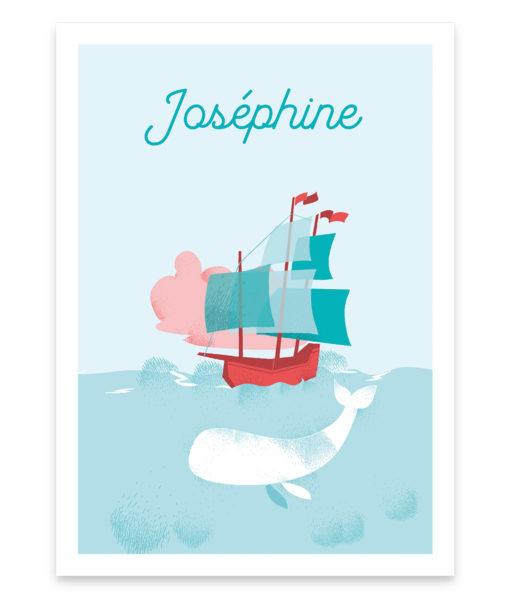 Une affiche personnalisable pour enfant, de Moby Dick, la baleine blanche