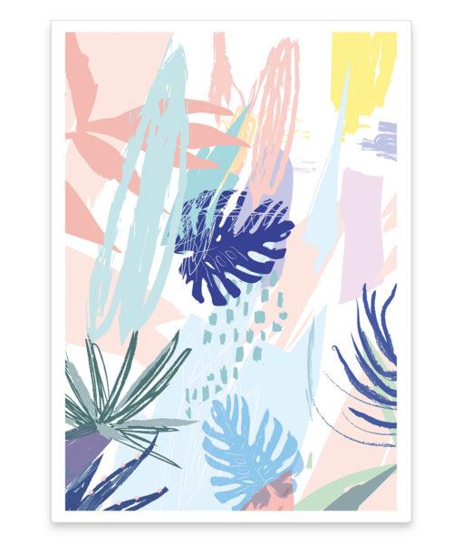 Abstract jungle une affiche colorée plantes tropicales existe en plusieurs formats