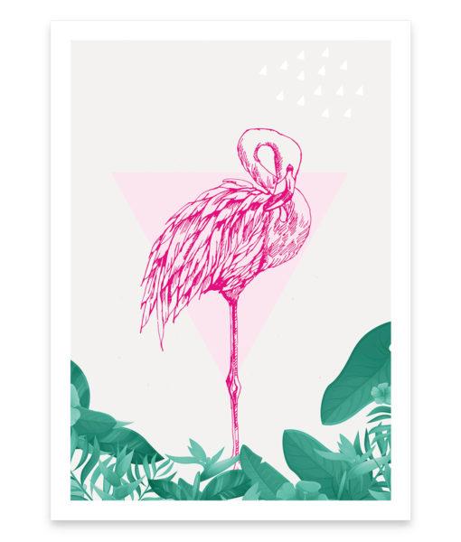 Une affiche vintage d'un flamant rose, la note tropicale de votre intérieur vitaminé