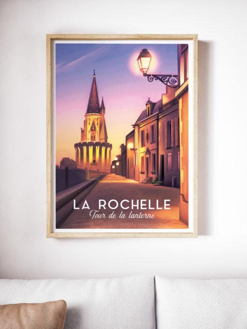 Une affiche vintage de la tour de la lanterne de La Rochelle