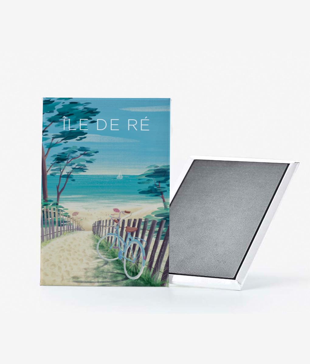 Un magnet vintage d'une plage de l'île de ré sous le soleil exactement