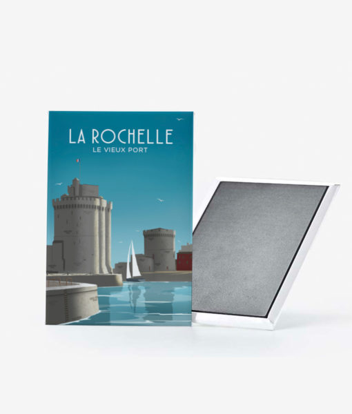 Un magnet vintage des fameuses tours du vieux port de La Rochelle