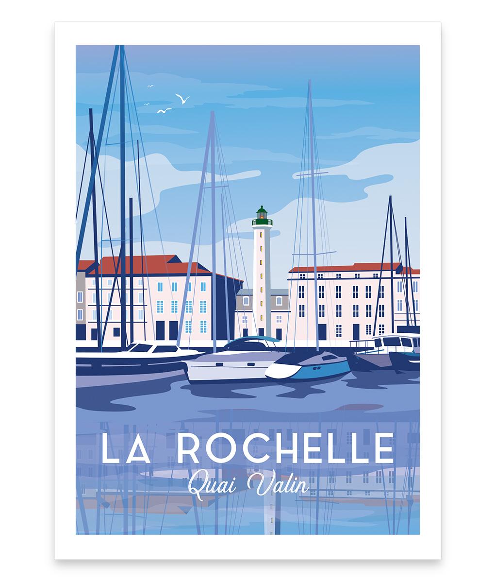 Une affiche vintage du quai Valin de La Rochelle
